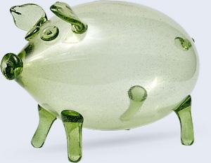 Skleněné prasátko pokladníčka z lesního skla